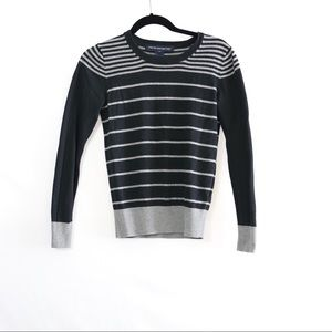 French Connection Black Grey Stripe Sweater Small